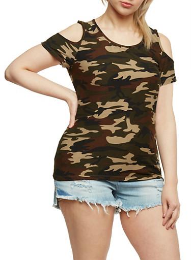 Plus Size Camouflage Cold Shoulder Top,OLIVE,large