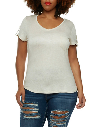 V-Neck T-Shirt with One Bust Pocket,OATMEAL,large