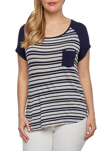 Plus Size Striped Raglan Top,HEATHER GREY/NAVY,large