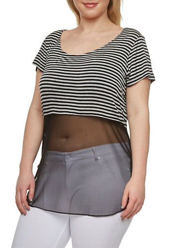 Plus Size Striped Top with Mesh Paneling and Scoop Neck,GRAY/BLACK,large