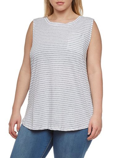 Plus Size Striped Muscle Tank with Bust Pocket,HEATHER/IVORY,large