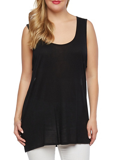 Plus Size Extended Tank Top with Back Cutouts,BLACK,large