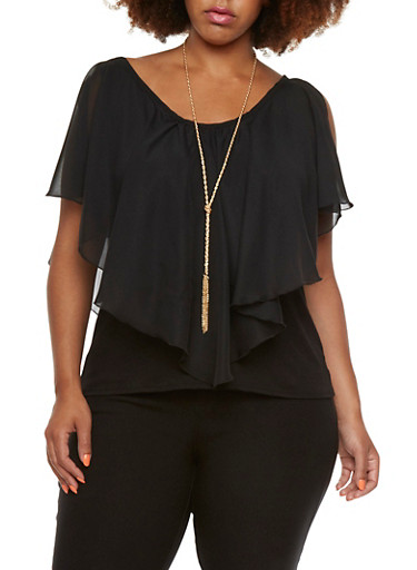 Plus Size Cold Shoulder Blouse with Removable Necklace,BLACK,large