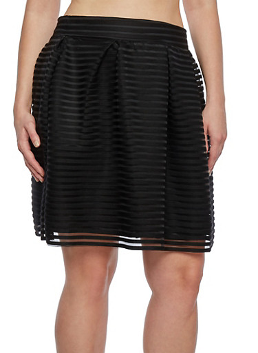 Plus Size Pleated Skirt in Shadow Stripes,BLACK,large