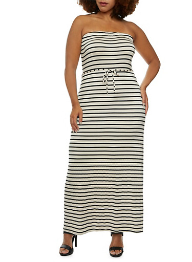 Plus Size Strapless Maxi Dress in Stripes,OATMEAL/BLK,large
