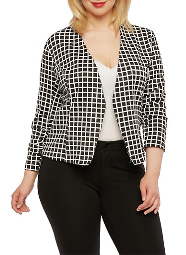 Plus Size Printed Blazer with Ruched Sleeves,BLACK   1449-DU949,large