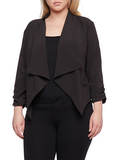 Plus Size Draped Blazer with Ruched Sleeves,BLACK,large