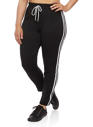 Plus Size Varsity Striped Sweatpants,BLACK/WHITE,large