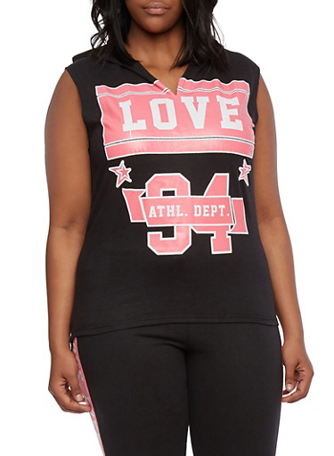 Plus Size French Terry Sleeveless Muscle Tee with Love Athletic Dept Print,BLACK,large