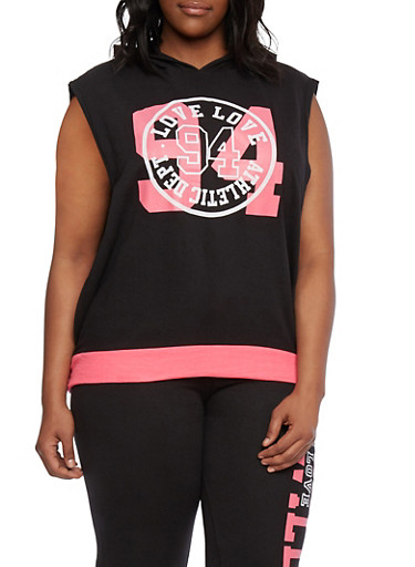 Plus Size Hooded Graphic Muscle Tee with Love 94 Print,BLACK,large