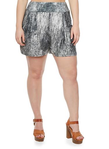 Plus Size Knit Acid Wash Shorts,BLACK,large