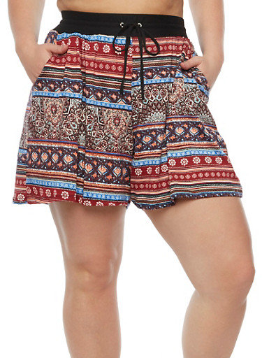Plus Size Printed Shorts with Drawstring Waist,BURGUNDY,large