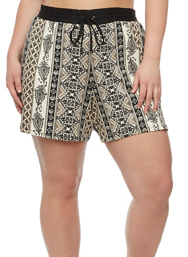 Plus Size Printed Shorts with Drawstring Waist,BLACK,large