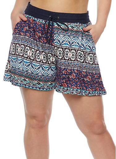 Plus Size Printed Shorts with Drawstring Waist,NAVY,large