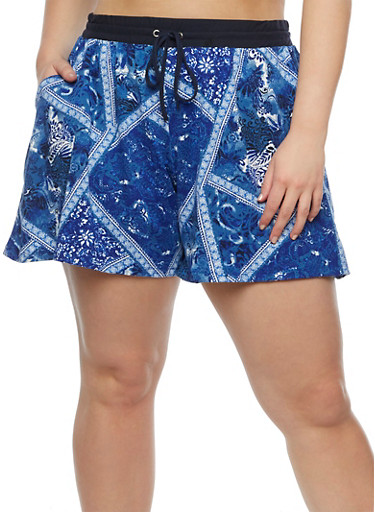 Plus Size Printed Shorts with Drawstring Waist at Rainbow Shops in Daytona Beach, FL | Tuggl