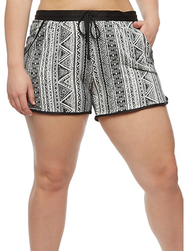 Plus Size Printed Shorts with Drawstring Waist,GRAY,large