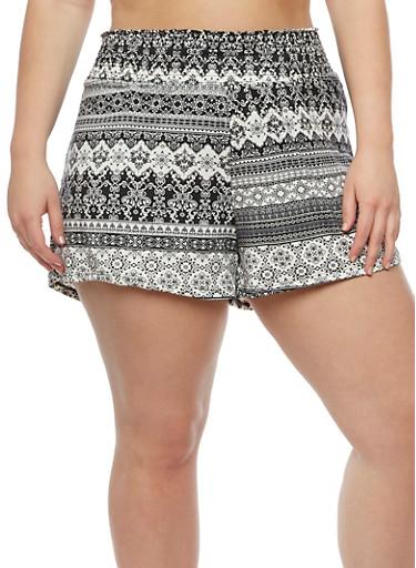 Plus Size Printed Smocked Waist Shorts,BLACK,large
