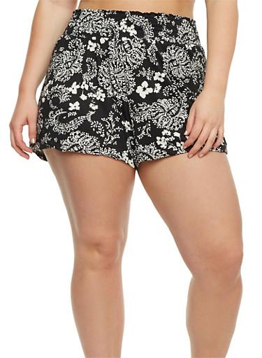 Plus Size Soft Knit Printed Shorts,BLACK,large