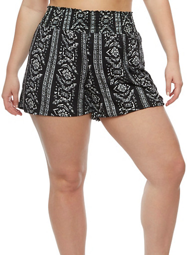 Plus Size Printed Smocked Waist Shorts,BLK-GREY,large