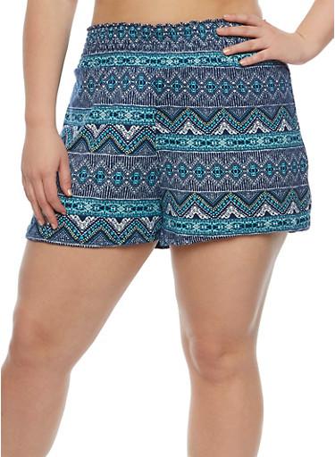 Plus Size Printed Smocked Waist Shorts,NAVY,large