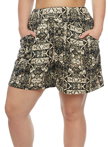 Plus Size Printed Shorts,BLACK/WHITE,large