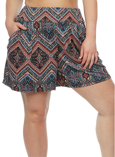 Plus Size Printed Shorts,BLACK,large
