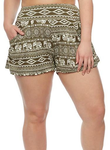 Plus Size Elephant Print Shorts,GREEN,large
