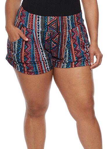 Plus Size Printed Shorts,VIOLET,large