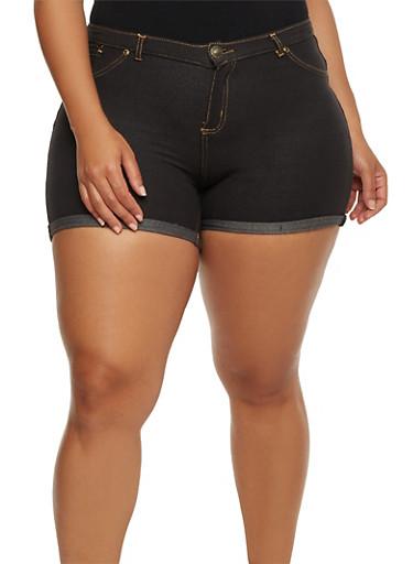 Plus Size Cuffed Denim Knit Shorts,BLACK,large