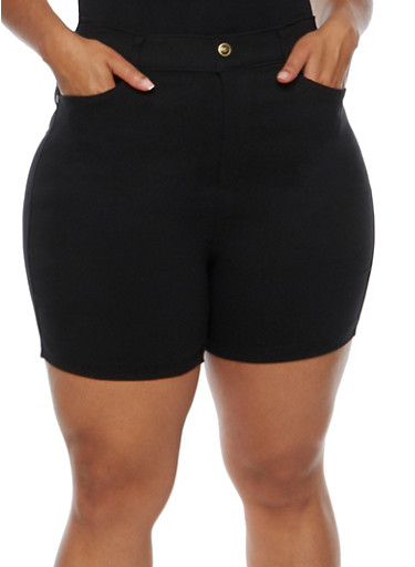 Plus Size Denim Bermuda Shorts,BLACK,large