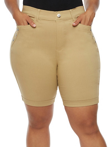 Plus Size Bermuda Shorts with Rhinestone Details,KHAKI,large