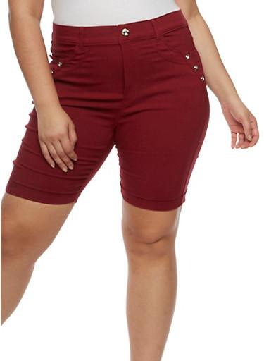 Plus Size Bermuda Shorts with Rhinestone Details,WINE,large