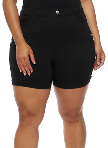 Plus Size Cuffed Bermuda Shorts with Rhinestone Details,BLACK,large