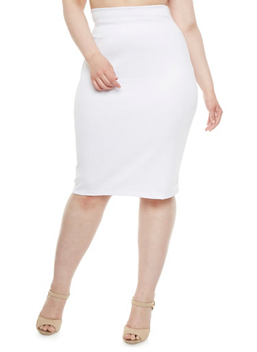 Plus Size Pencil Skirt with Back Zipper,WHITE,large