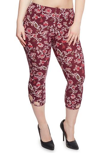 Plus Size Floral Capri Leggings with Cutouts,WINE,large