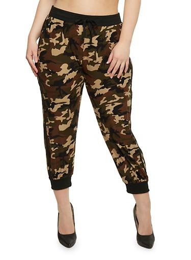 Plus Size Camouflage Varsity Stripe Joggers,OLIVE,large