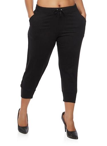 Plus Size Solid Capri Sweatpants,BLACK,large