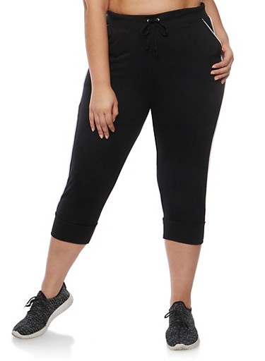 Plus Size French Terry Capri Joggers,BLACK,large