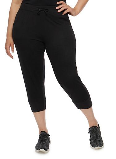 Plus Size Solid Capri Joggers,BLACK,large