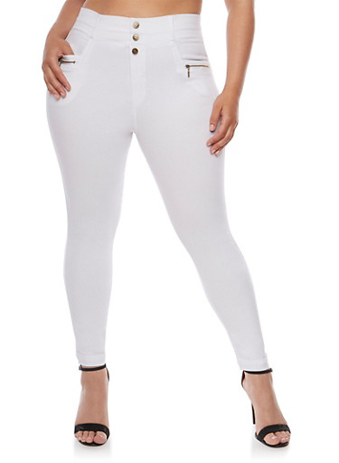 Plus Size Cuffed Pants with Zip Pockets,WHITE,large