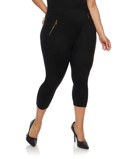 Plus Size Stretch Knit Capri Pants,BLACK,large
