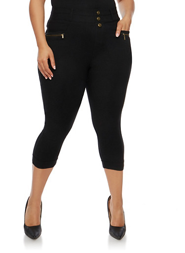 Plus Size High Waisted Stretch Knit Capri Pants,BLACK,large