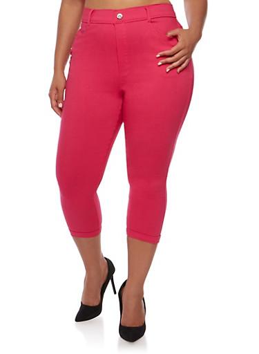 Plus Size Cuffed Capri Pants with Rhinestone Studs,FUCHSIA,large