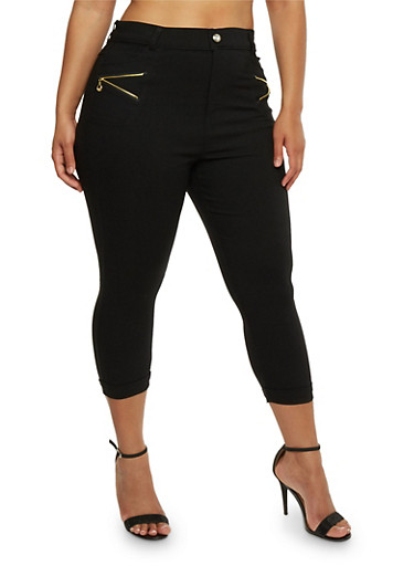 Plus Size Stretch Capri Pants with Zipper Detail,BLACK,large