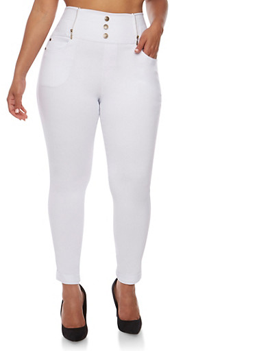 Plus Size High Waisted Rolled Cuff Stretch Knit Pants,WHITE,large