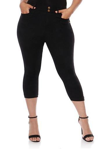 Plus Size Cuffed Capri Pants,BLACK,large