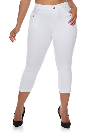 Plus Size Stretch Knit Pants with Rhinestone Accents,WHITE,large