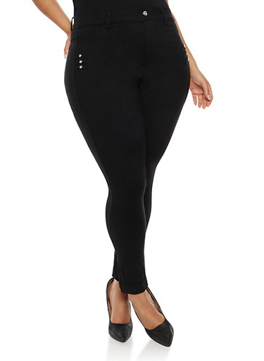Plus Size Stretch Jeggings with Rhinestone Details,BLACK,large