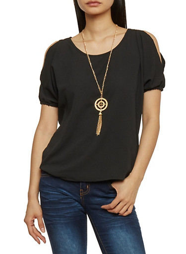 Solid Textured Knit Cold Shoulder Top with Necklace,BLACK,large