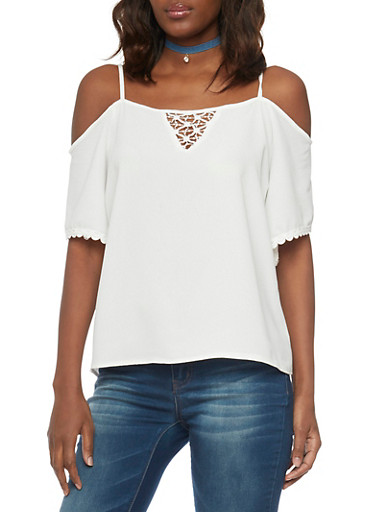 Crepe Cold Shoulder Blouse with Crochet Keyhole,IVORY,large